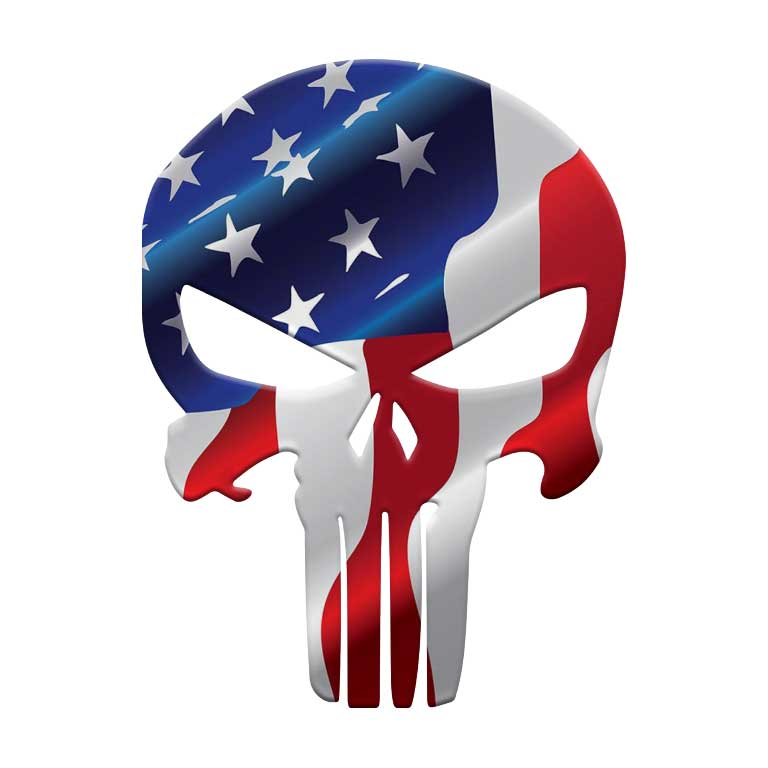 American Flag Punisher Graphic Decal - Ragged Apparel Screen Printing and Signs - www.nmshirts.com