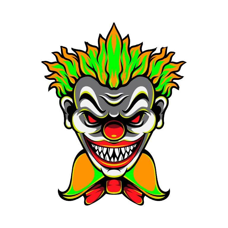 Scary Clown Graphic Decal - Ragged Apparel Screen Printing and Signs - www.nmshirts.com
