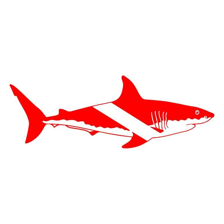 Scuba Diving White Shark Graphic Decal - Ragged Apparel Screen Printing and Signs - www.nmshirts.com