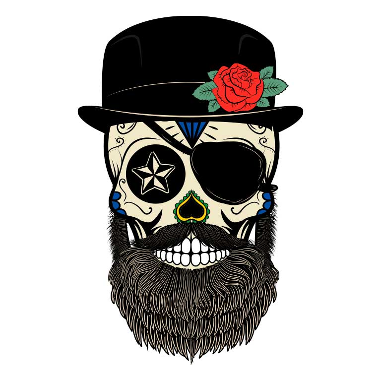 Sugar Skull with Beard and Top Hat Graphic Decal - Ragged Apparel Screen Printing and Signs - www.nmshirts.com