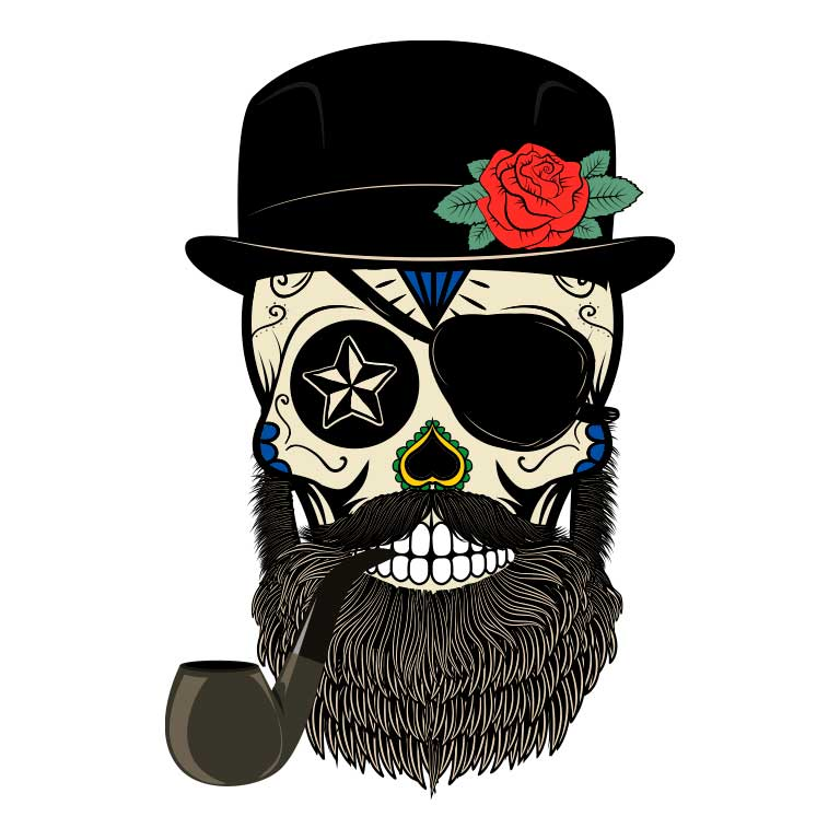 Sugar Skull with Beard and Top Hat Smoking a Pipe Graphic Decal - Ragged Apparel Screen Printing and Signs - www.nmshirts.com