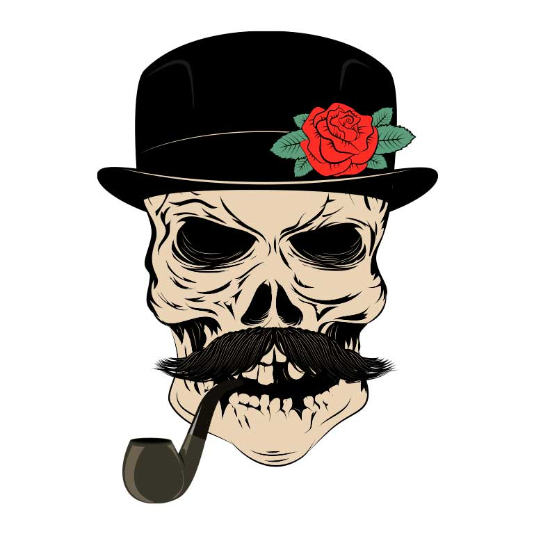 Sugar Skull with Mustache and Top Hat Smoking a Pipe Graphic Decal - Ragged Apparel Screen Printing and Signs - www.nmshirts.com