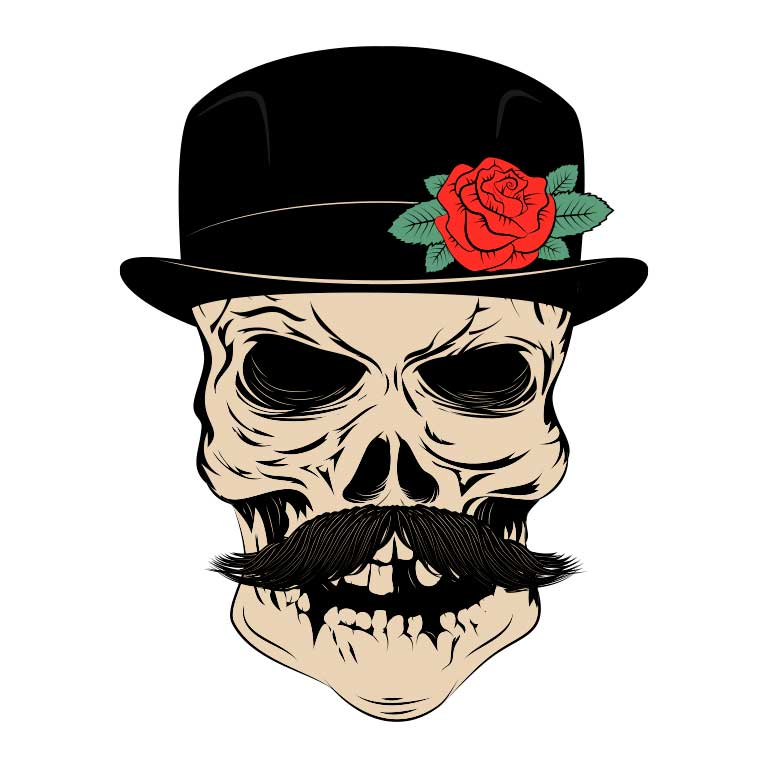 Sugar Skull with Mustache and Top Hat Graphic Decal - Ragged Apparel Screen Printing and Signs - www.nmshirts.com