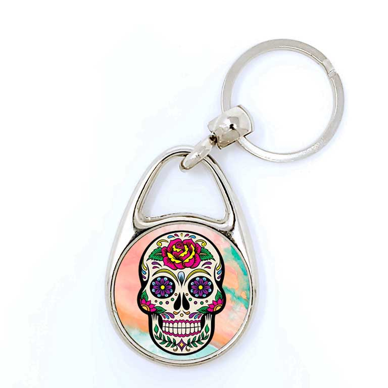 Colorful Sugar Skull Day of the Dead Key Chains Dia de Los Muertos Keychain - Ragged Apparel Screen Printing and Signs - www.nmshirts.com