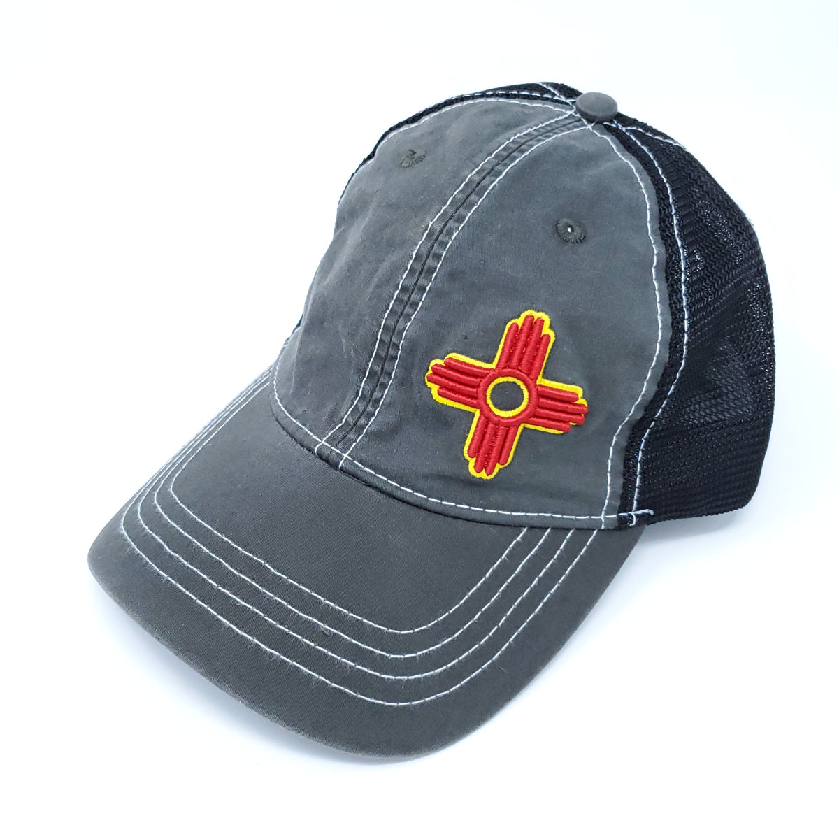 Vintage Trucker Style Snapback with Embroidered Zia Symbol - Ragged Apparel Screen Printing and Signs - www.nmshirts.com