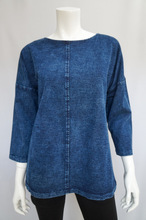Load image into Gallery viewer, The Your Song collection is exclusive to Rhumba. An updated line of soft stretch denim jackets, dresses and tops in stylish designs with flattering silhouettes, textured accents and decorative details; designed for everyday wear by fashionable women with a comfy relaxed fit in solid denim blue or fun painted denim.