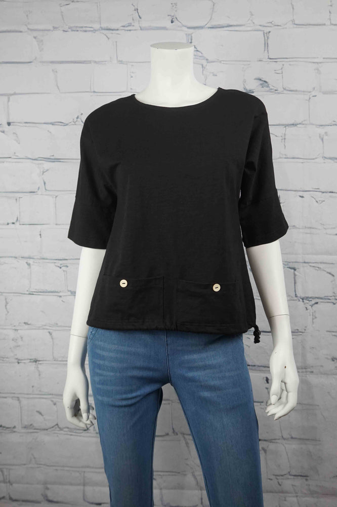 Petticoat Lane Low Pocket Top - Black
