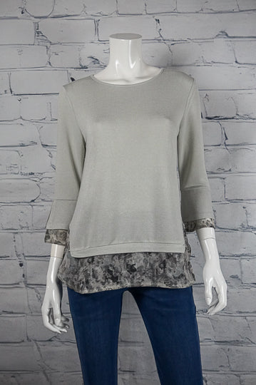 Bobbi Dazzler Chiffon Layered Top - Grey