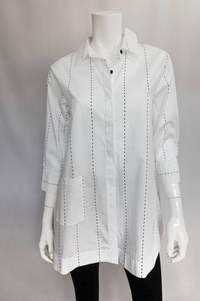 Bobbi Dazzler Long One Pocket Shirt - White