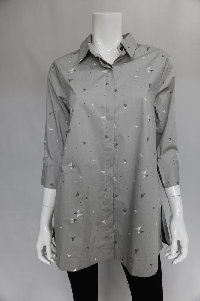 Bobbi Dazzler Long One Pocket Shirt - Grey