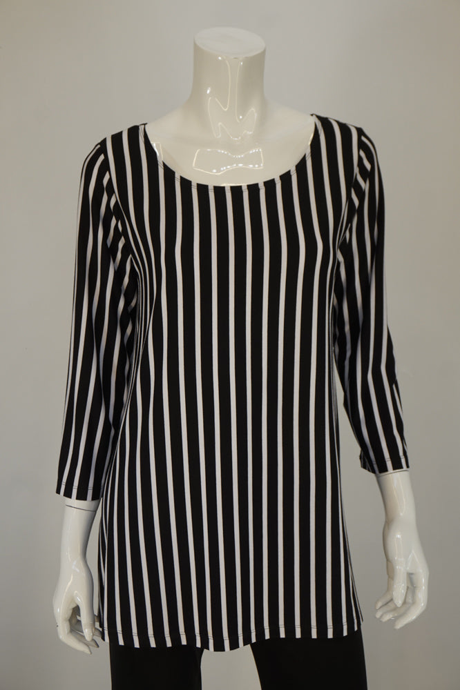 Bobbi Dazzler Basic Tunic - Blk/Wht Stripe