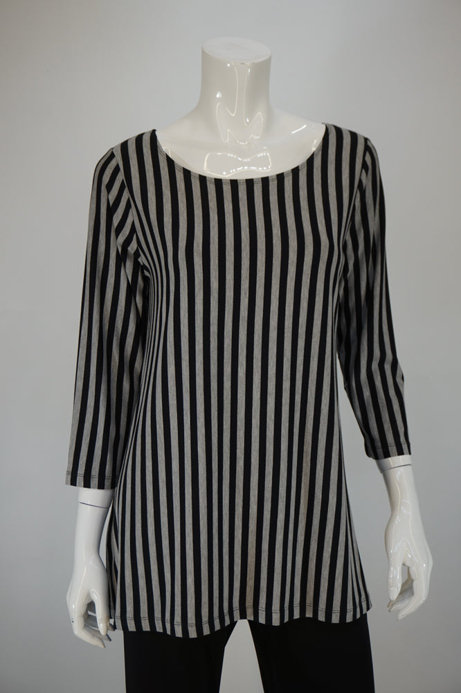 Bobbi Dazzler Basic Tunic - Blk/Gry Stripe