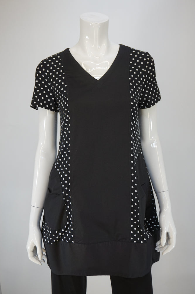 Bobbi Dazzler Cotton Front Tunic B/W Polka Dots