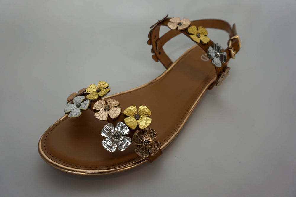 Hunky Dory Sandals Metallic Flower Strap