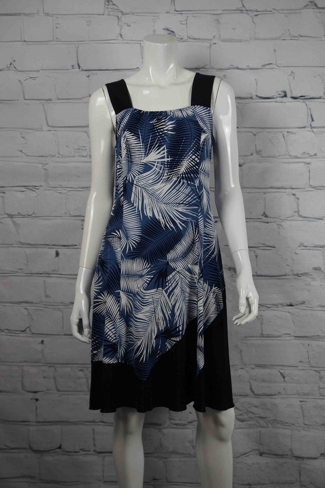 Let's Dance Black Bottom Dress - Blue Fern