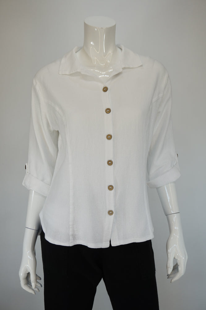 Moonshadow Ezze Wear Button Front with Collar White