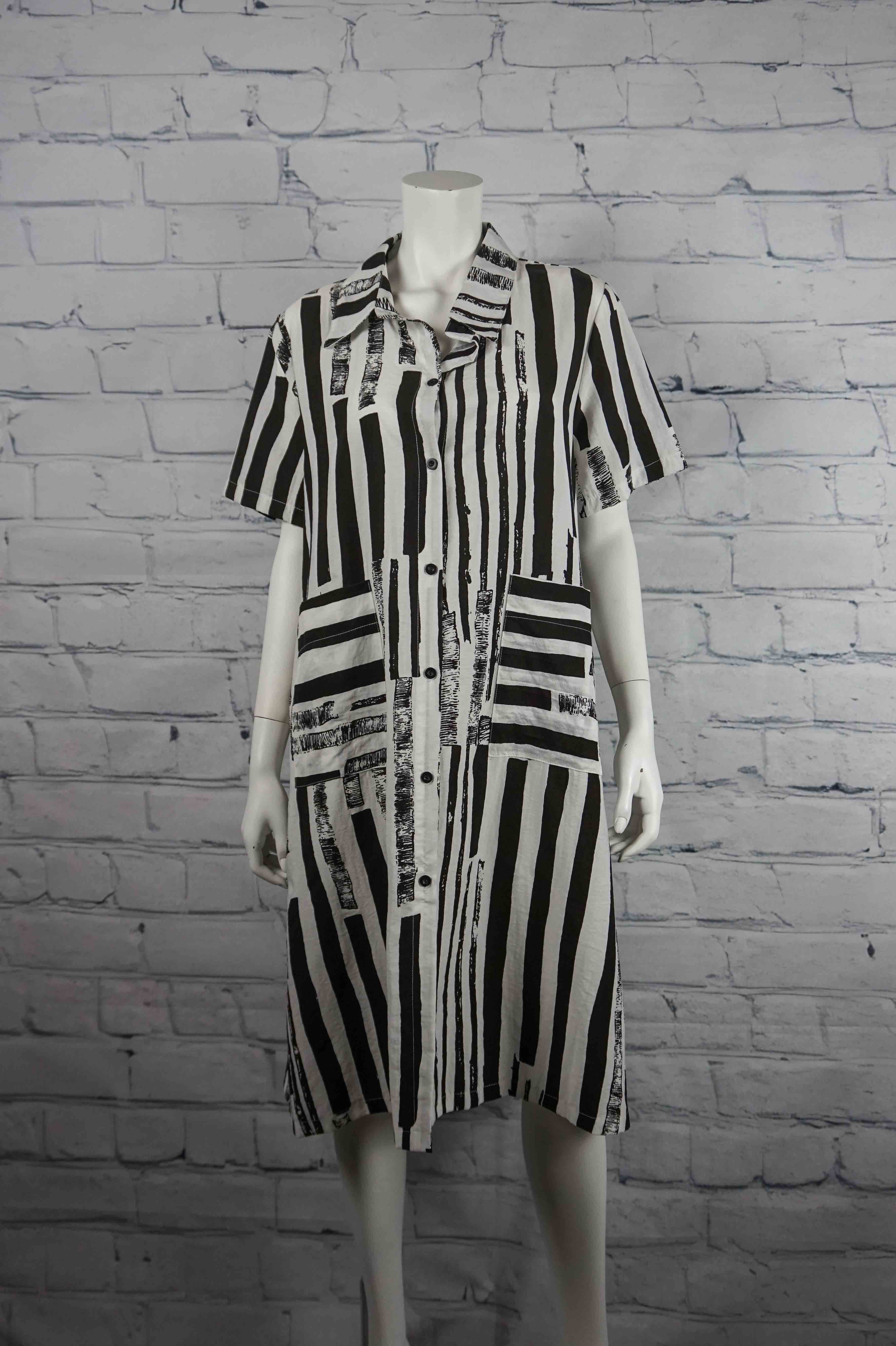 Paint It Black Long Striped Shirt/Dress