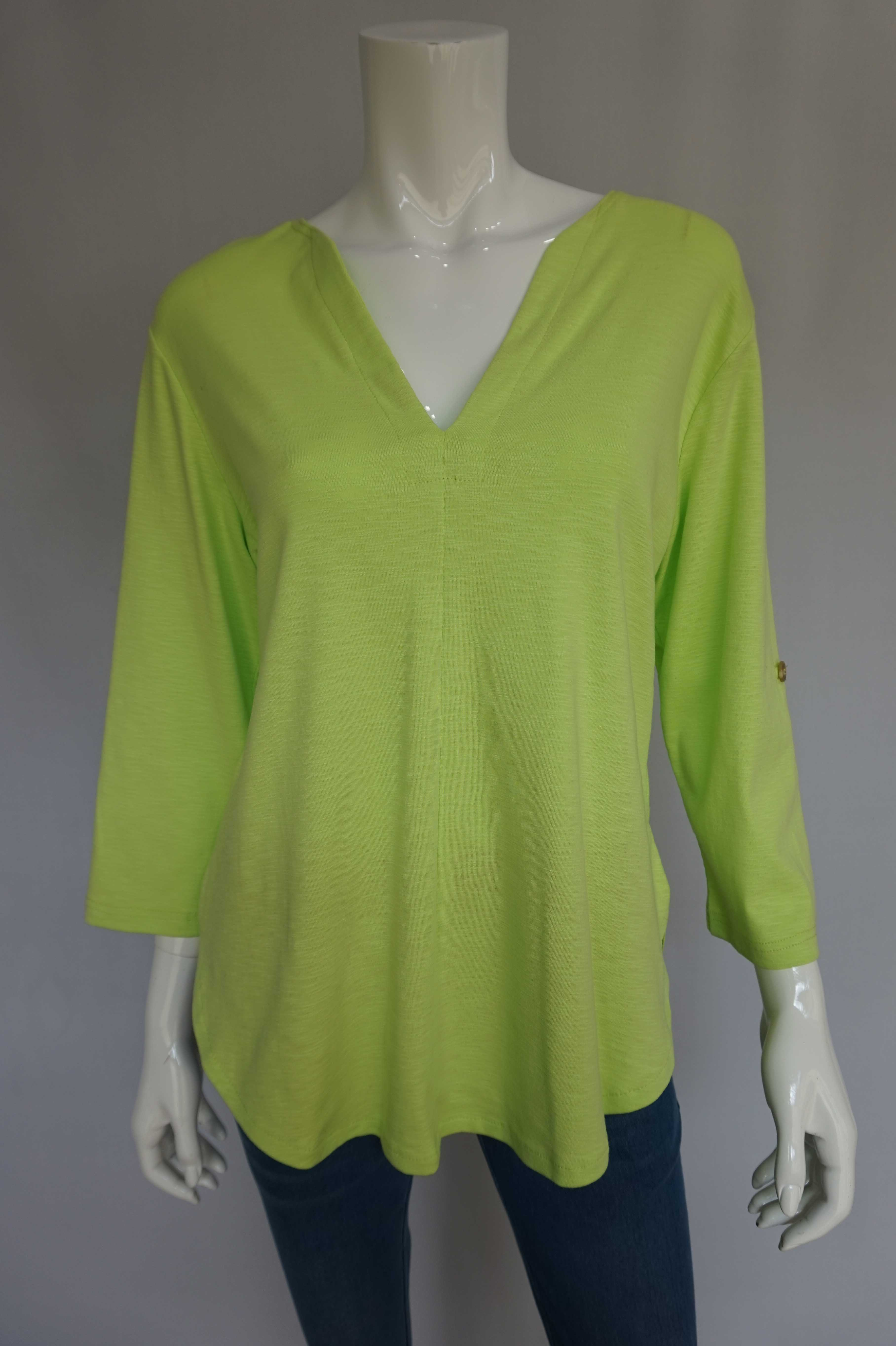 Petticoat Lane Slit Back Top - Lime