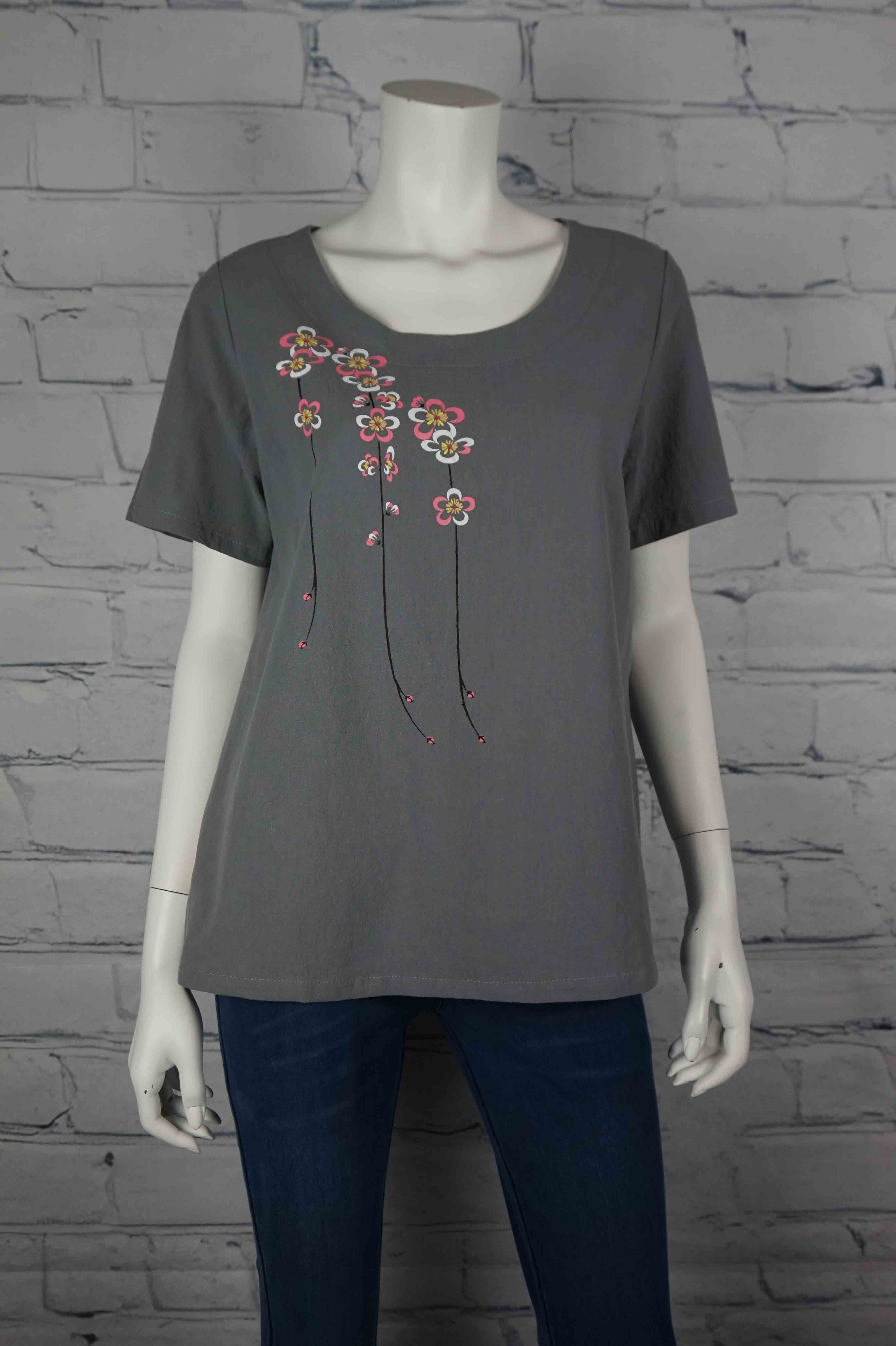 Portobello Road Cotton Top-Gry/Flower
