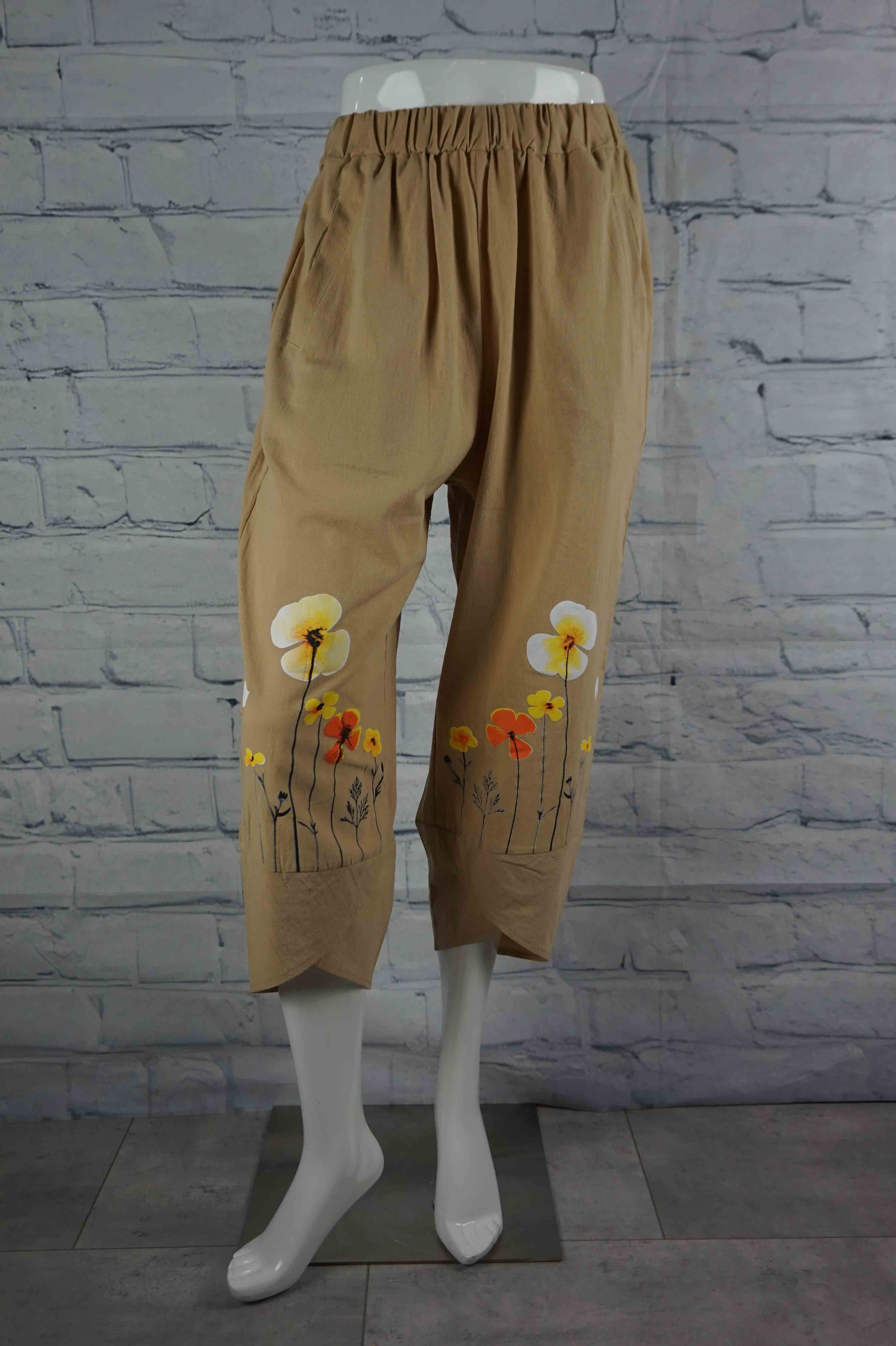 Portobello Road Cotton Pant-Sand/Flower