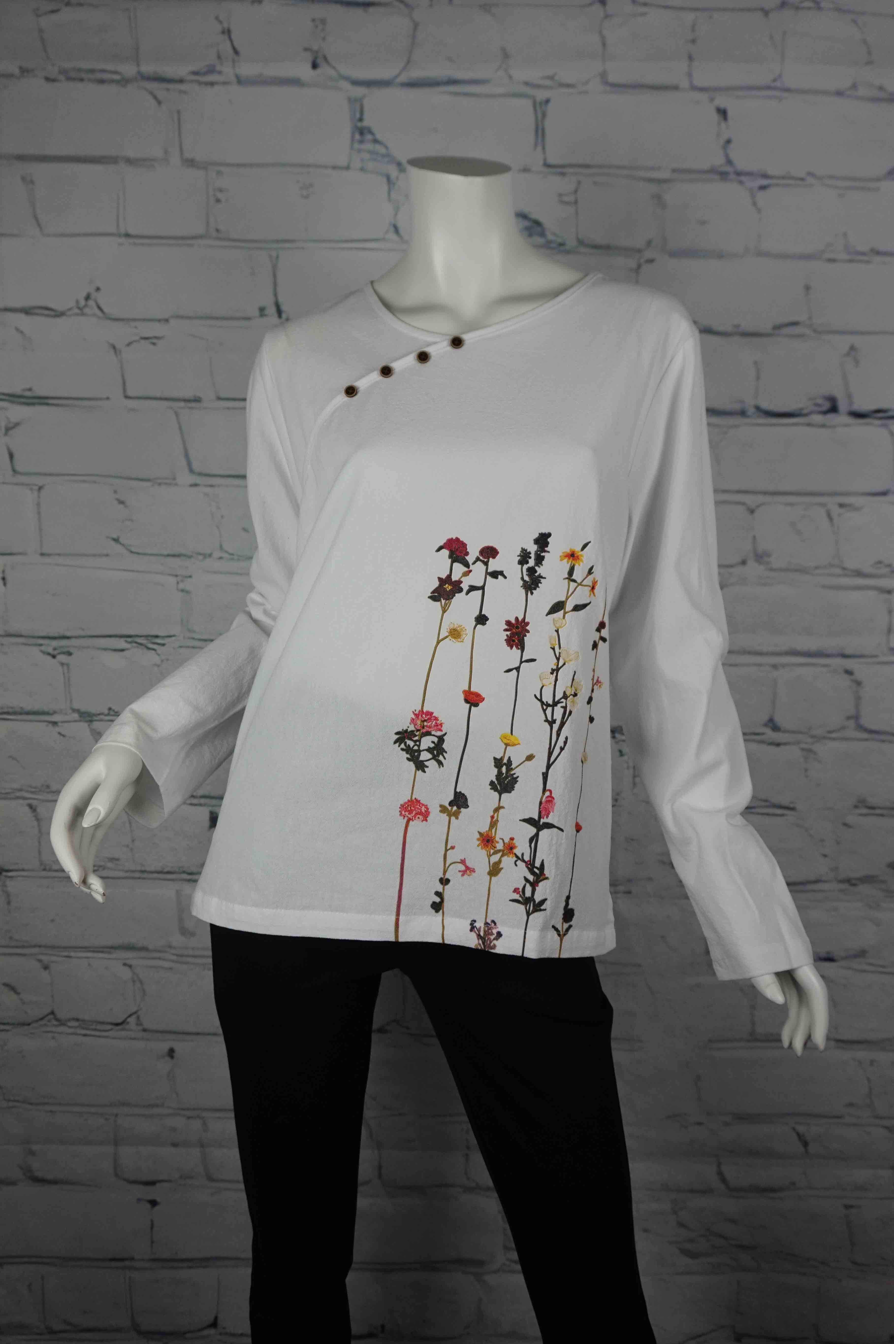 Portobello Road Cotton Top-Wht/Flower
