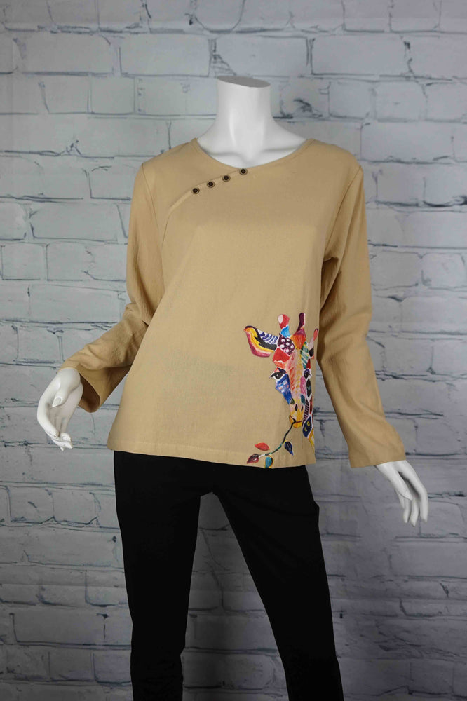 Portobello Road Cotton Top-Sand/Giraffe