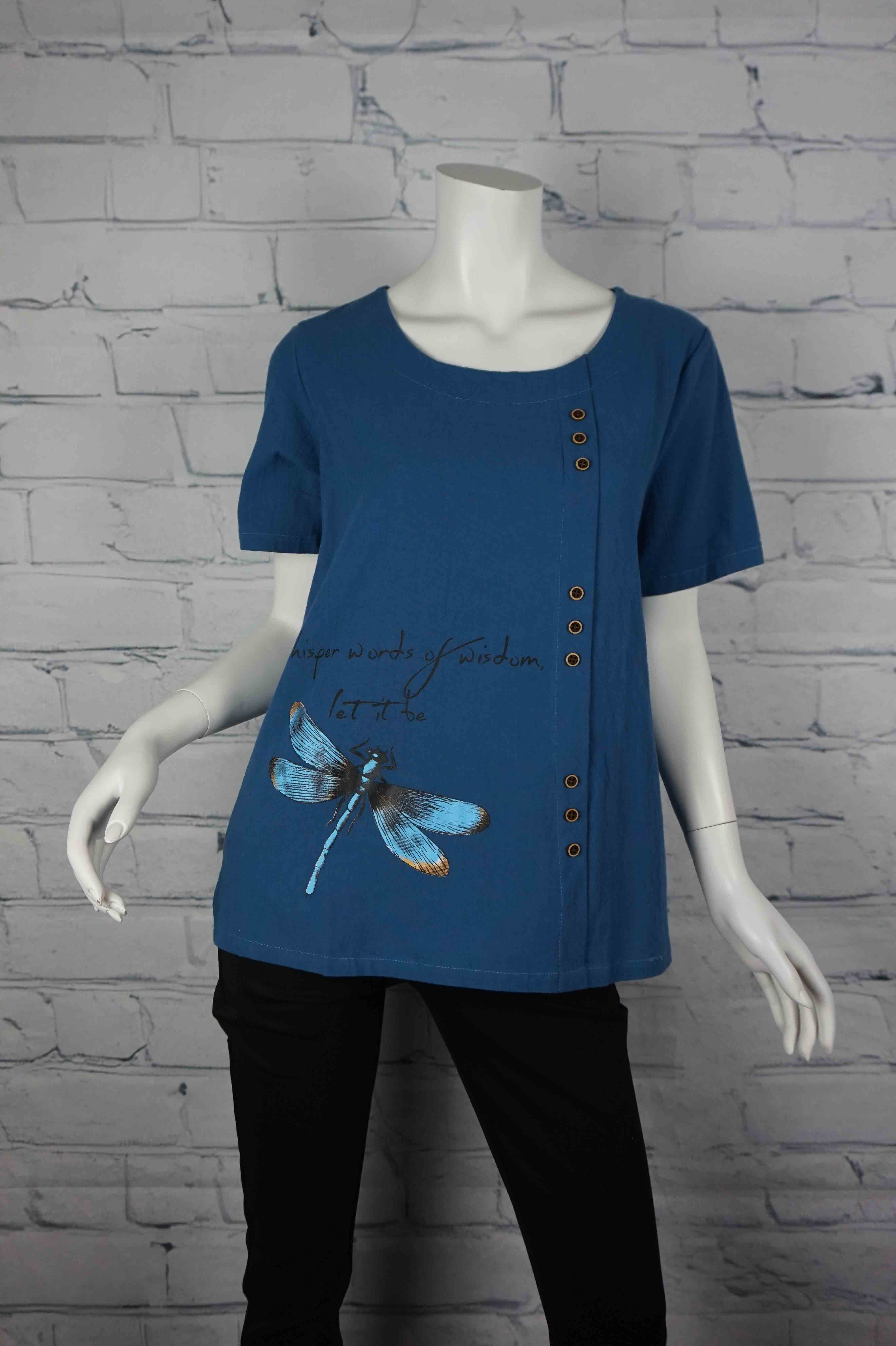 Portobello Road Cotton Top-Blu/LetItBe