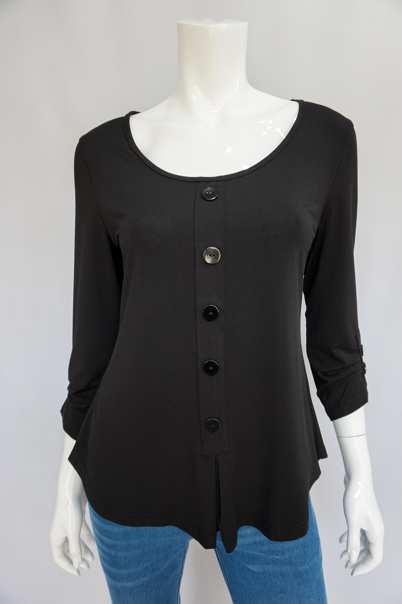 Bobbi Dazzler Button Henley - Black