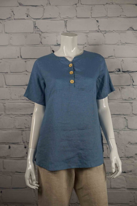 Sweetheart Linen 3 Button Top - Blue