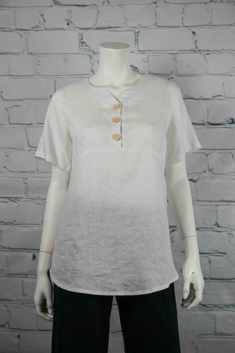 Sweetheart Linen 3 Button Top - White