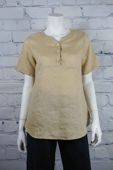 Sweetheart Linen 3 Button Top - Sand