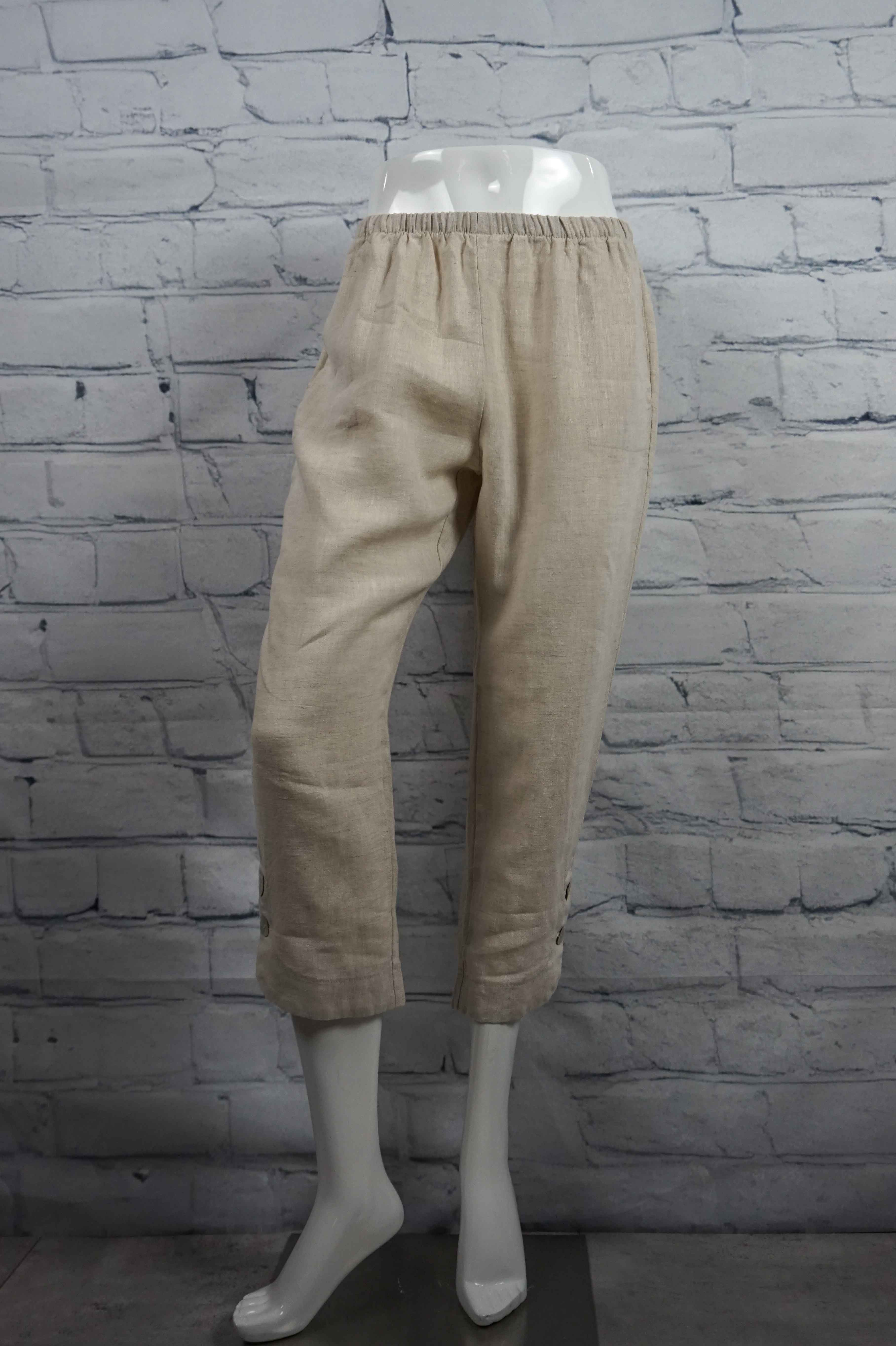 Sweetheart Linen Button Capri - Sand