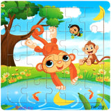 Wooden Puzzles Toys 20Pcs Kids Joy Superior Quality Puzzle Wood Cartoon Animals Jigsaw Puzzles Educational Toys For Children