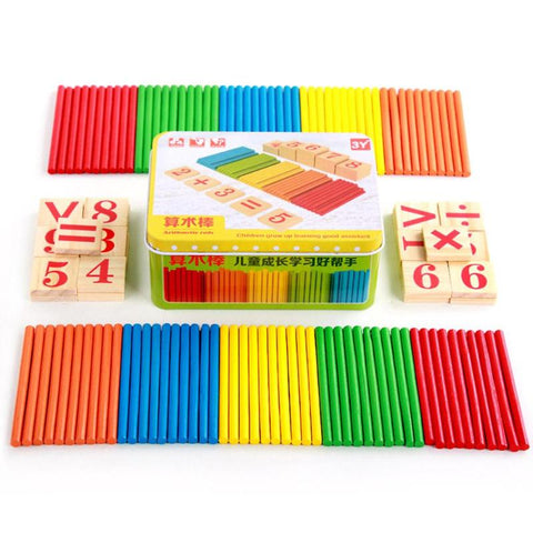 Kids Math Toy Wooden Preschool Early Learning Puzzle Toys for Children Mathematics Game Stick Math Numbers Counting Rods