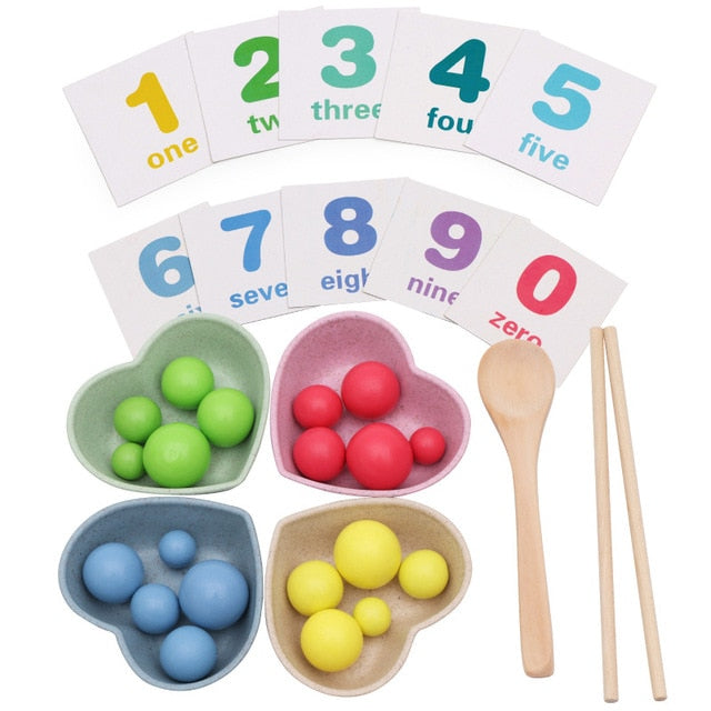 Wooden Math Toys Kids Children Early Educational Toys Clip Beads Multi-functional learning Toy For Children Montessori