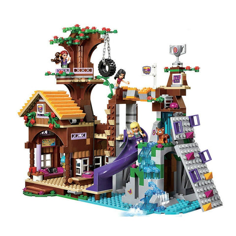 Compatible with Legoinglys Friends Adventure Camp Tree House Emma Mia Figure Model BuildingToy Hobbies for Children