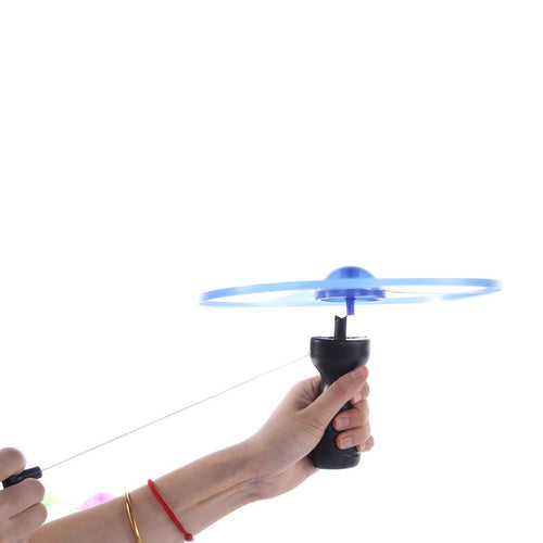 2019 hot sale 1pc Fun outdoor sports pull line saucer toys  LED lighting UFO parent-child interaction Creative 7 color spin-off