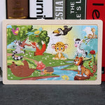 High quality  22.5 * 15 cm wooden large 24 cartoon animal baby puzzle children wooden educational toys girl boy