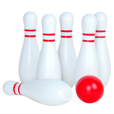 Large Size Wooden Skittle Ball Indoor Bowling Game With 6 Bowling Pins Garden Game Pool Toy Outdoor Fun 2019 Toys For Children