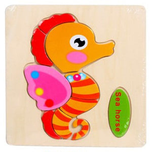 QWZ Baby Toys Wooden Puzzle Cute Cartoon Animal Intelligence Kids Educational Brain Teaser Children Tangram Shapes Jigsaw Gifts