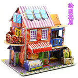 3D DIY Puzzle Castle Assembling Model Cartoon House Paper Toy Kid Early Learning Construction Pattern Gift Children House Puzzle