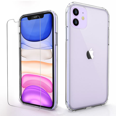 Newppon Clear Case for iPhone 11 : with Screen Protector & Protective Bumper for Boys Men Women Girls