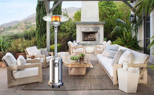 Newppon Propane Patio Heater Outdoors : Stainless Steel Heat Focusing Lamps Large Standup Heaters Backyard Garden Wedding Dinner Party Silver