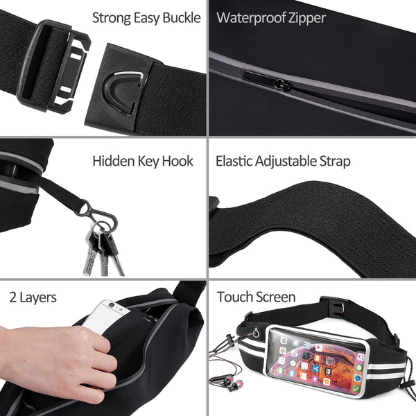 Newppon Running Belt Phone Pouch : Runner Race Belt Waist Pack with Water Resistant Reflective Light weight for iPhone Xs Max XR X 8 7 6 Plus Samsung Galaxy Note for Sport Travel Workout for Men Women