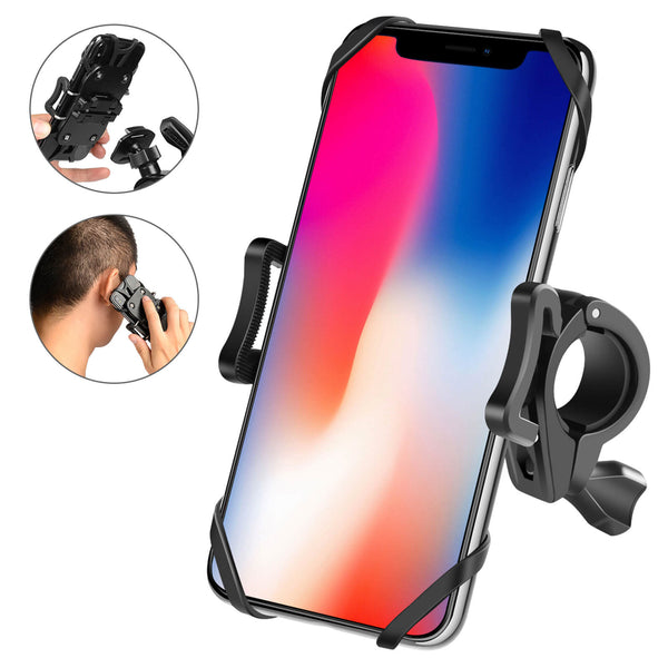 Newppon Bike & Motorcycle Phone Mount : Detachable 360° Rotation Bicycle Cell Phone Holder for Handlebar of Scooter Stroller Treadmill, Compatible iPhone 11 Pro Max SE X Xs 8 6 Plus Samsung Galaxy Nexus