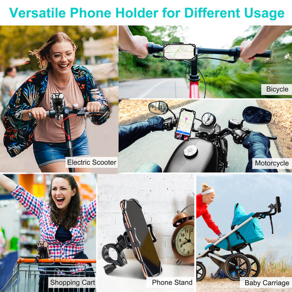 versatile phone holder for different usage such as electric scooter bicycle mortorcycle shopping cart phone stand baby carriage etc