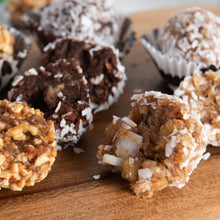 Load image into Gallery viewer, Cocoa Craze and Off The Walnut, Sattva Vida, Gluten Free, vegan, Vegan Snacks, Energy Bites, Plant Protein, Whole Foods, Dates, Non Gmo, Healthy Snacks, energy bar, snack bar, protein bar, dark chocolate bar, dairy free snacks, vegan bars, low sugar, Energy Boost, nutrition bars, raw ingredients