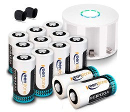 Keenstone Arlo Battery Set, RCR123A 3.7V 700mAh lithium battery,  Reusable Batteries with Accessories, for Flashlight/Arlo Camera/Microphone/Electric Shaver/Alarm Clock/Security CCTV Camera - pickichen