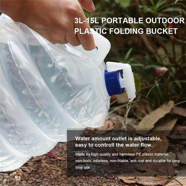 Folding Outdoor Camping Handle Collapsible Bucket Bottle Container - pickichen