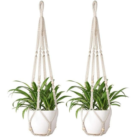 Macrame Indoor Plant Hangers 2Pcs With Beads